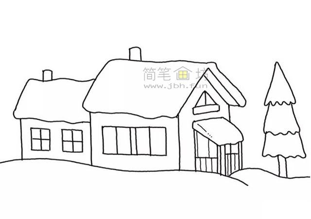 冬季雪屋简笔画画法步骤教程【彩色】(5)