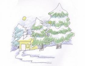 冬天风景简笔画画法步骤图解教程【彩色】
