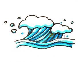 蓝色的海浪简笔画绘画步骤【彩色】