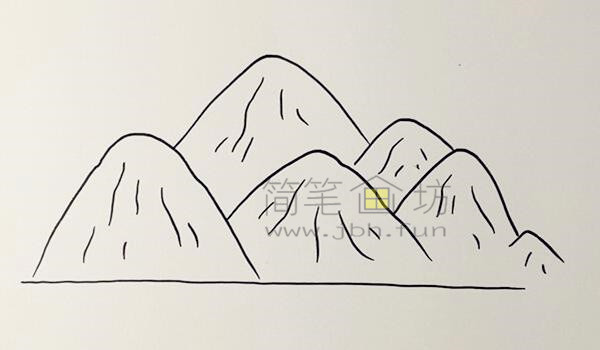 高山流水简笔画绘画步骤【彩色】(1)