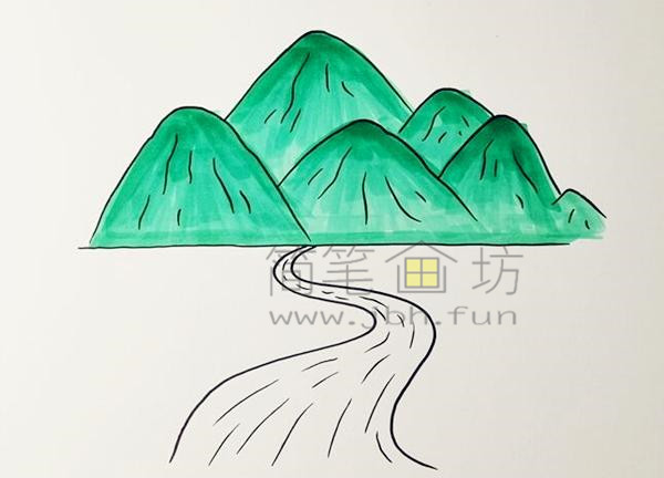 高山流水简笔画绘画步骤【彩色】(3)