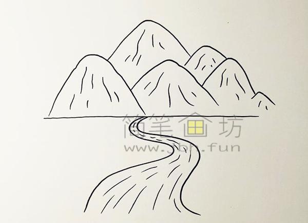 高山流水简笔画绘画步骤【彩色】(2)