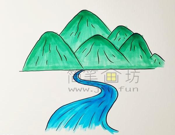 高山流水简笔画绘画步骤【彩色】(4)