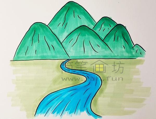 高山流水简笔画绘画步骤【彩色】(5)
