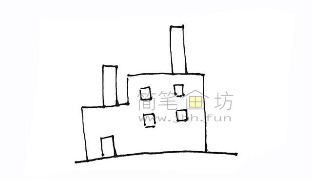 冒着烟的工厂简笔画画法【彩色】(3)