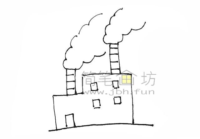 冒着烟的工厂简笔画画法【彩色】(5)