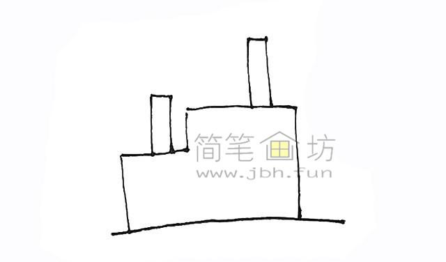 冒着烟的工厂简笔画画法【彩色】(2)