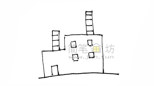 冒着烟的工厂简笔画画法【彩色】(4)