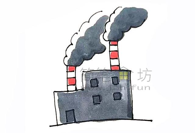 冒着烟的工厂简笔画画法【彩色】(6)