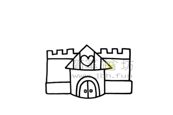 美丽的公主的爱心城堡简笔画画法【彩色】(2)