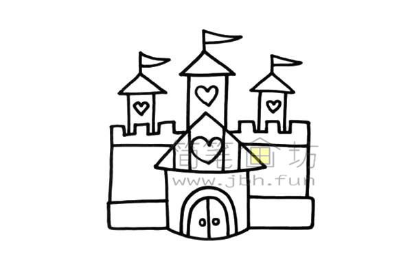 美丽的公主的爱心城堡简笔画画法【彩色】(3)