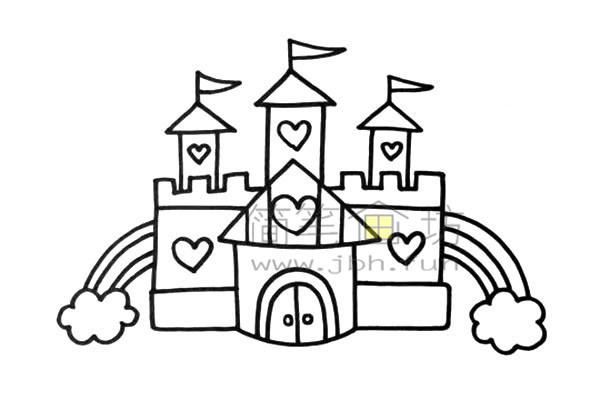 美丽的公主的爱心城堡简笔画画法【彩色】(4)