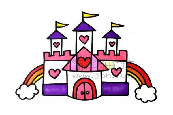 美丽的公主的爱心城堡简笔画画法【彩色】(5)