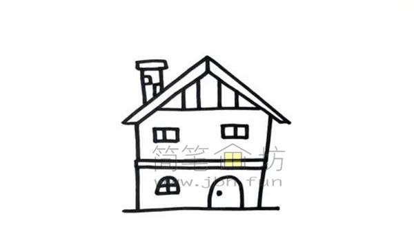 果园里的小房子简笔画绘画步骤及教程【彩色】(3)