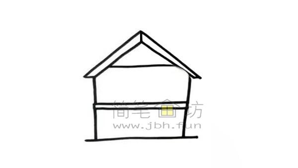 果园里的小房子简笔画绘画步骤及教程【彩色】(2)