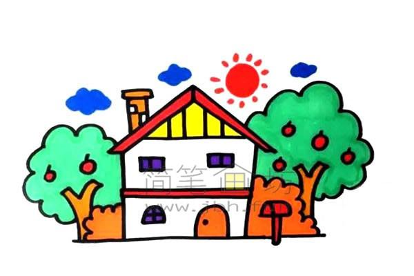 果园里的小房子简笔画绘画步骤及教程【彩色】(5)