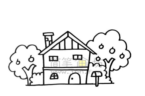 果园里的小房子简笔画绘画步骤及教程【彩色】(4)
