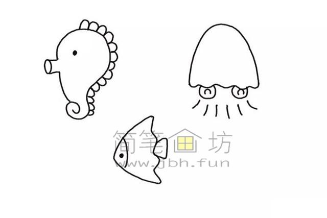 美丽的海底世界儿童简笔画怎么画(3)
