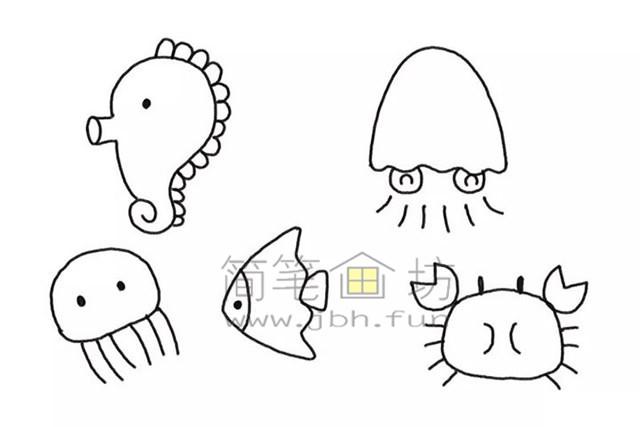 美丽的海底世界儿童简笔画怎么画(5)