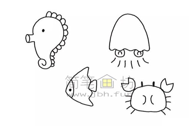 美丽的海底世界儿童简笔画怎么画(4)