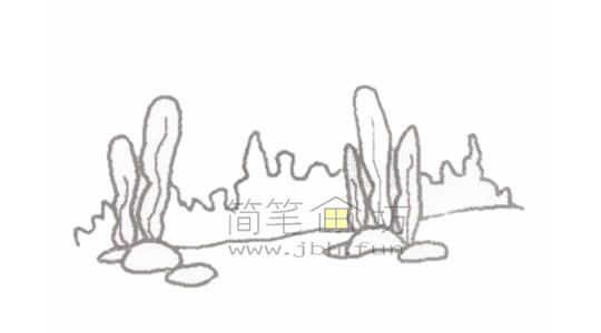绚丽的海底世界简笔画画绘画步骤【彩色】(2)