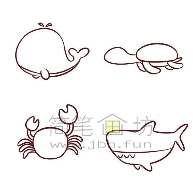 海底世界各种鱼类简笔画绘画教程【彩色】(4)