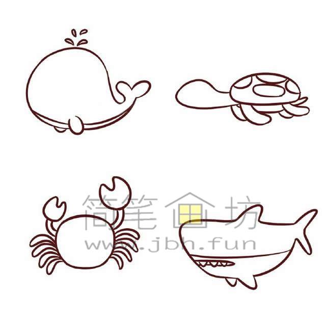海底世界各种鱼类简笔画绘画教程【彩色】(5)