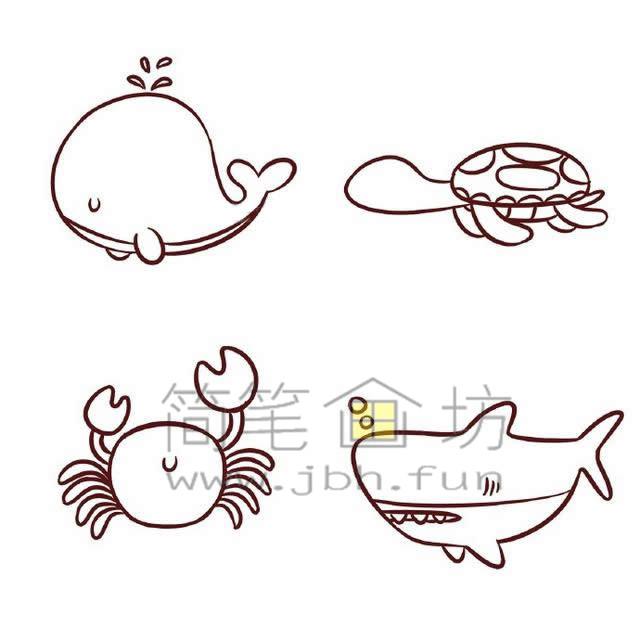 海底世界各种鱼类简笔画绘画教程【彩色】(6)