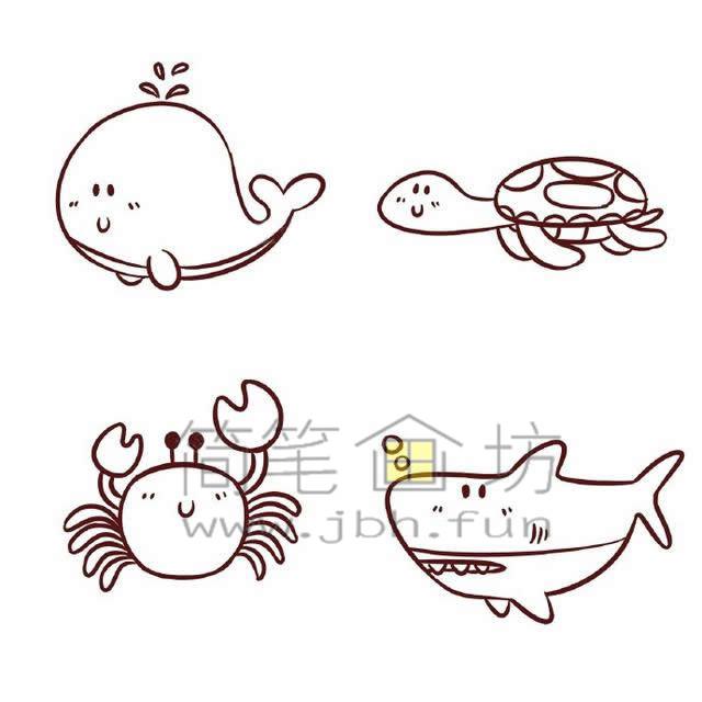 海底世界各种鱼类简笔画绘画教程【彩色】(7)