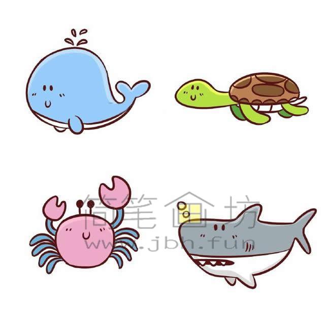 海底世界各种鱼类简笔画绘画教程【彩色】(8)