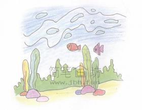 绚丽的海底世界简笔画画绘画步骤【彩色】