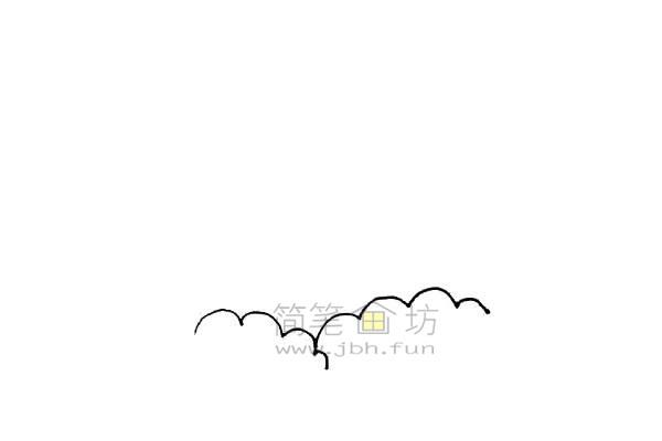 火山爆发简笔画绘画步骤教程【彩色】(1)