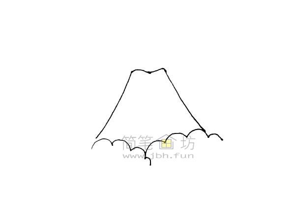 火山爆发简笔画绘画步骤教程【彩色】(2)