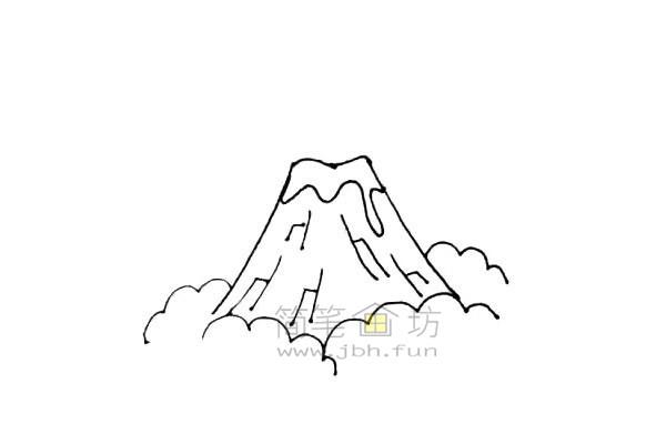 火山爆发简笔画绘画步骤教程【彩色】(5)