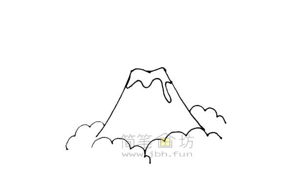 火山爆发简笔画绘画步骤教程【彩色】(4)