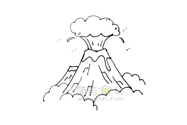 火山爆发简笔画绘画步骤教程【彩色】(7)