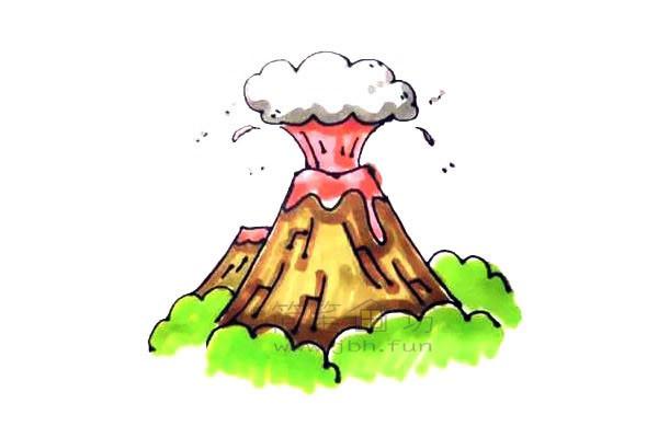 火山爆发简笔画绘画步骤教程【彩色】(8)