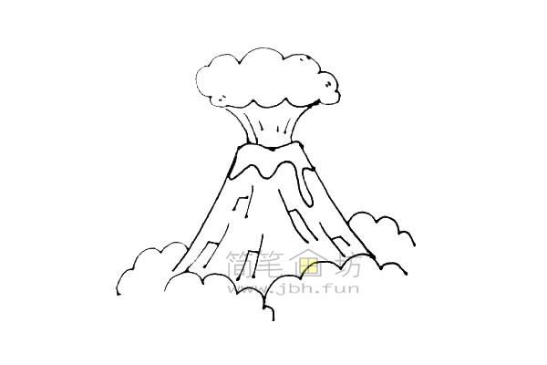 火山爆发简笔画绘画步骤教程【彩色】(6)