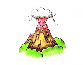 火山爆发简笔画绘画步骤教程【彩色】