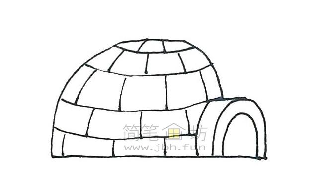 儿童简笔画:冰屋简笔画画法步骤【彩色】(5)
