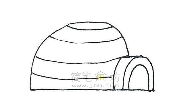 儿童简笔画:冰屋简笔画画法步骤【彩色】(4)