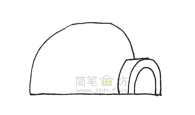 儿童简笔画:冰屋简笔画画法步骤【彩色】(3)