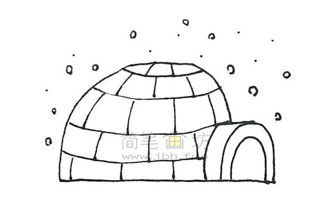 儿童简笔画:冰屋简笔画画法步骤【彩色】(6)