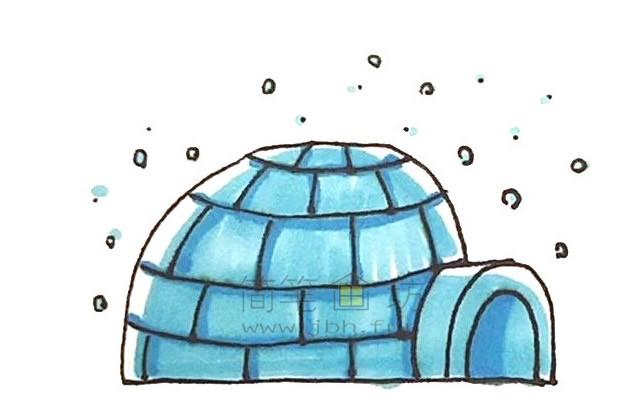 儿童简笔画:冰屋简笔画画法步骤【彩色】(7)