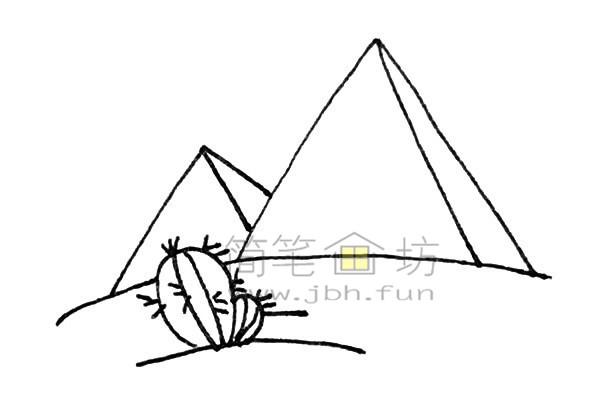 雄伟的金字塔简笔画绘画步骤【彩色】(5)