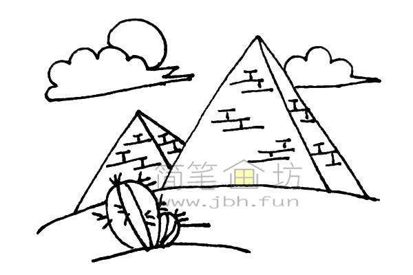 雄伟的金字塔简笔画绘画步骤【彩色】(7)