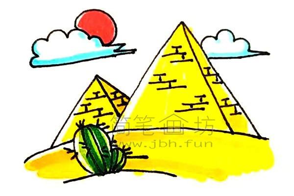 雄伟的金字塔简笔画绘画步骤【彩色】(8)