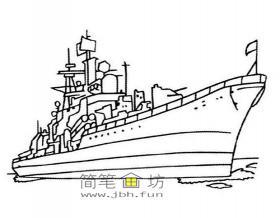 军舰简笔画2幅