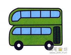 简笔画双层巴士的画法
