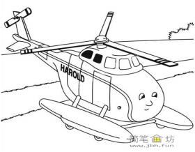 3幅写实风格直升飞机简笔画图片